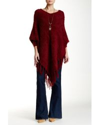 Insight | Wool Blend V-neck Fuzzy Knit Fringe Poncho | Lyst
