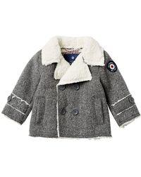 5013dba1c3b6 Lyst - Ben Sherman Faux Wool Fleece Lined Coat (baby Boys) in Blue ...