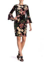 Calvin Klein - Floral Velvet Bell Sleeve Dress - Lyst