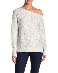 Love Token - Off The Shoulder Pearl Knit Top - Lyst