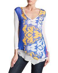 Analili - V-neck Long Sleeve Print Blouse - Lyst