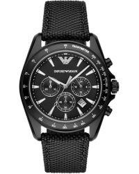 Emporio Armani - Men's Chronograph Nylon Strap Watch, 44mm - Lyst