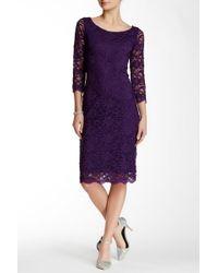 Marina - 3/4 Length Sleeve Boatneck Sheath Dress - Lyst