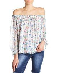 Kensie - Off-the-shoulder Floral Blouse - Lyst