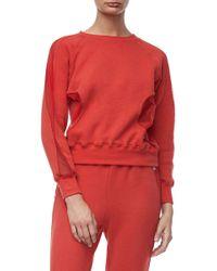 GOOD AMERICAN - Good Sweats Mesh Inset Sweatshirt (regular & Plus Size) - Lyst