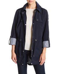 41b2ac2191094 Tommy Hilfiger Faux Fur Trim Down Jacket in Blue - Lyst