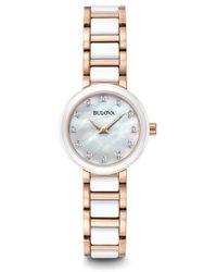 Bulova - Women's Quartz Ceramic & Stainless Steel Casual Diamond Watch - Lyst