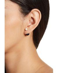Splendid - 14k Yellow Gold Dyed Black & Natural White 6-6.5mm & 9-9.5mm Freshwater Pearl Barbell Earrings - Lyst