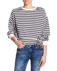 Kensie - Striped Shirred Sleeve Shirt - Lyst