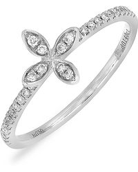 Bony Levy - 18k White Gold Pave Diamond Flower Ring - 0.14 Ctw - Lyst