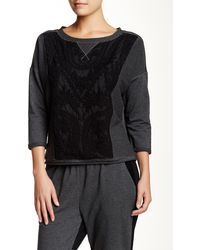 Catherine Malandrino Indigo - Lace Combo Drop Shoulder Sweatshirt - Lyst