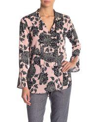 Jones New York - Floral Print Neck Tie Blouse - Lyst
