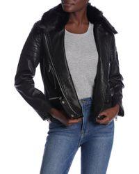 Walter Baker - Ruby Faux Fur Collar Leather Jacket - Lyst