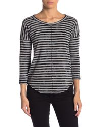 Lucky Brand - Striped 3/4 Sleeve Tee - Lyst