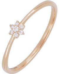 Bony Levy - 18k Rose Gold Prong Set Diamond Petite Flower Ring - 0.04 Ctw - Lyst