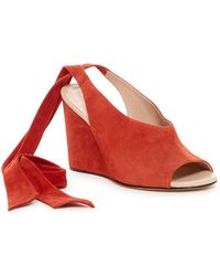 DEREK LAM Maude Ankle Tie Nappa Leather Woven Wedge Pump O5EF5