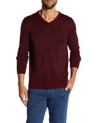 Nautica - 12 Gauge Striped V-neck Sweater - Lyst