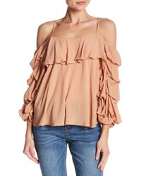 Mustard Seed   Tiered Blouson Sleeve Cold Shoulder Top   Lyst