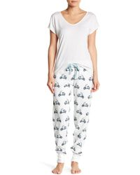 Pj Salvage - Thermal Knit Moped Print Trousers - Lyst