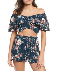 Band Of Gypsies - Alma Floral Print Off The Shoulder Top - Lyst