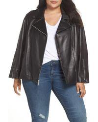 MICHAEL Michael Kors - Classic Leather Moto Jacket (plus Size) - Lyst