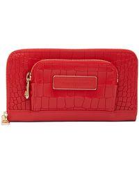 Longchamp - Legende Croc Embossed Leather Zip Wallet - Lyst