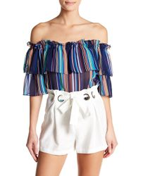 Jealous Tomato - Striped Off-the-shoulder Ruffle Blouse - Lyst