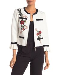 570e51b8d Ted Baker - Ruffle Cuff Embroidered Jacket - Lyst