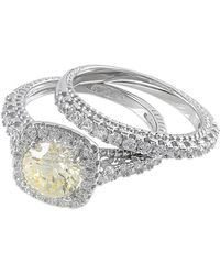 CZ by Kenneth Jay Lane - Sterling Silver Cz Cushion-cut Halo Stacker Rings - Set Of 2 - Lyst