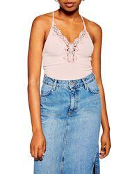 TOPSHOP Lace Trim Strappy Rib Bodysuit - Pink