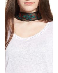 Hinge - Embroidered Skinny Scarf - Lyst