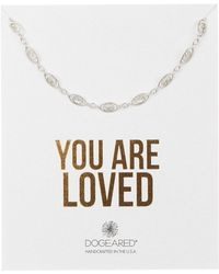 Dogeared - Sterling Silver 'you Are Loved' Delicate Filigree Link Choker Necklace - Lyst