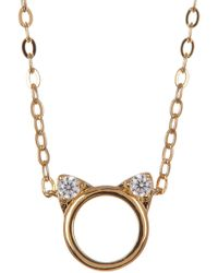 Nadri - 18k Gold Plated Brass Cz Cat Pendant Necklace - Lyst