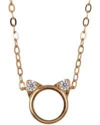 Nadri - 18k Gold Plated Brass Cz Cat Pendant Necklace - Lyst