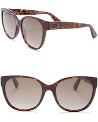 8cfd60e9bf4 Lyst - Gucci Modified Cat-eye Havana Acetate Sunglasses in Brown