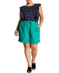 Joe Fresh - Linen Blend Cuff Shorts (plus Size) - Lyst