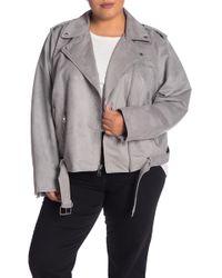 20da29e106e Lyst - Levi S Faux Suede Moto Jacket (plus Size) in Natural