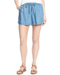 Two By Vince Camuto - Chambray Drawstring Waist Shorts - Lyst