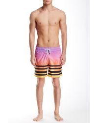 Spenglish - Sunset Palm Tree Printed Swim Trunk - Lyst