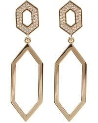 Vince Camuto - Crystal Accent Open Hexagon Double Drop Earrings - Lyst