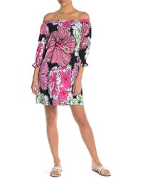 Tori Richard - Leonor Off-the-shoulder Print Dress - Lyst