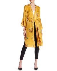 Jealous Tomato - Print Ruffle Sleeve Maxi Kimono - Lyst