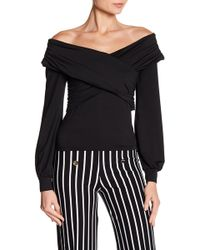 FAVLUX - Surplice Off-the-shoulder Blouse - Lyst