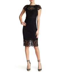 Bebe - Cap Sleeve Lace Midi Dress - Lyst