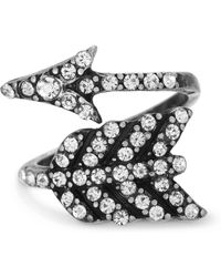 Steve Madden - Pave Rhinestone Wrapped Arrow Ring - Lyst