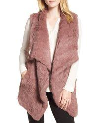 Love Token - Long Drape Genuine Rabbit Fur Vest - Lyst
