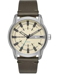 DIESEL - Men's Armbar Stainless Steel And Olive Leather Watch, 45mm X 50mm - Lyst