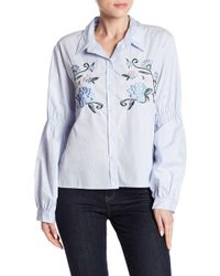 Sanctuary - Embroidered Balloon Sleeve Shirt - Lyst