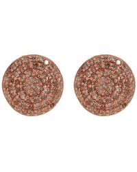 Adornia - Rose Gold Plated Sterling Silver White Diamond Pave Round Stud Earrings - 1.00 Ctw - Lyst