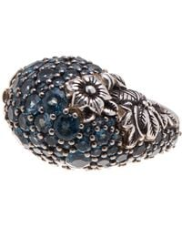 Stephen Dweck | Sterling Silver Pave Blue Topaz Floral Dome Ring - Size 6 | Lyst